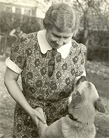 Helen Keller and her dog Kamikaze