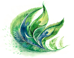 green feather graphic