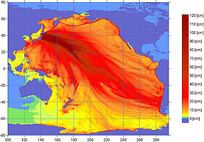 wave height map for the tsunami  wikipedia