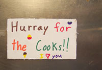 Sign for the cooks